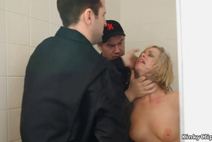 Blonde hostage is gangbang fucked