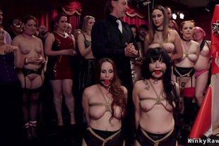 Orgy fucking slaves in bdsm party