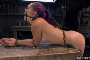 1114478 Purple Haired Slave Locked In Bird Cage