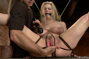 Two blondes are tormented on hogtie