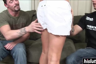 Hot babe makes two dicks disappear