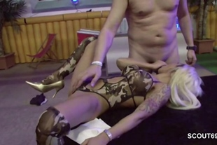 German Skinny Teen in Amateur Gangbang With Many Old Ma
