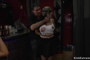 Euro slave pussy and ass banged in club
