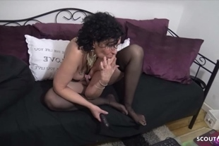 German Saggy Tits Granny Fuck with Young Boy