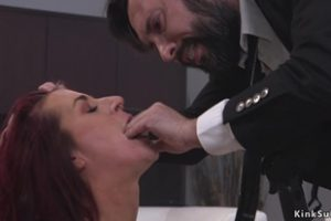 830693 Busty Redhead Fucked By Cop In Bondage